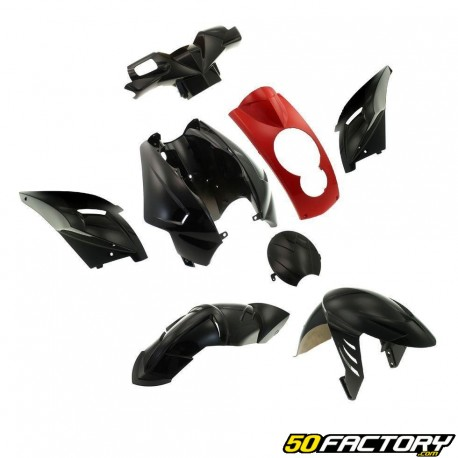 Kit fairings black and red Peugeot Ludix