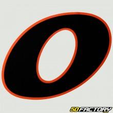 Número de etiqueta 0 negro naranja borde 130mm