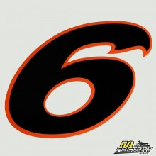 Numero di adesivo 6 bordo nero arancio 130mm