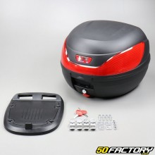 Top case 32L black motorcycle and universal scooter (red reflector)