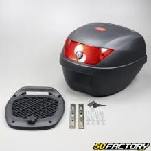 Top case 28L noir moto et scooter universel (réflecteur rouge)