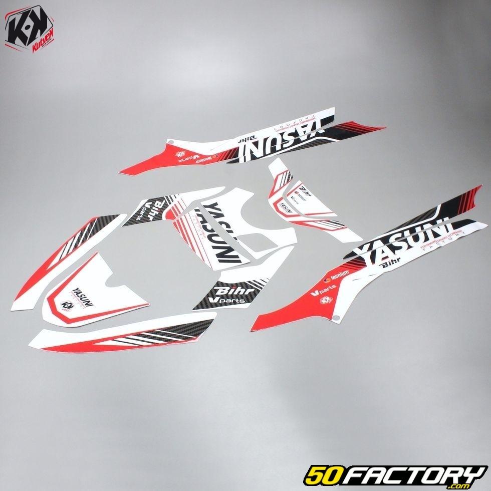 Kit deco KUTVEK Yasuni Factory rouge//blanc MBK Booster//Yamaha BWS 50