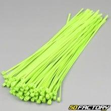 Colliers plastique vert fluo 250mm (100 pièces)
