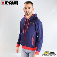 Sweat à capuche Ipone 100% Motorcycle bleu taille L