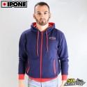 Kapuzen-Sweatshirt Ipone 100% Motorrad Blau Größe XL