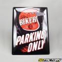 Plaque émaillée Biker parking only 2 29,5x39,5cm