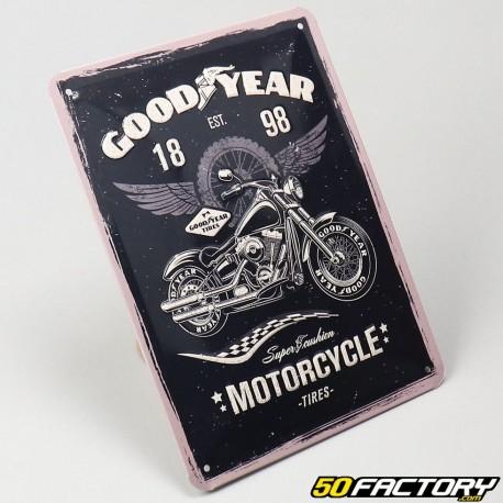 Plaque émaillée Goodyear motorcycle tires 15x20cm