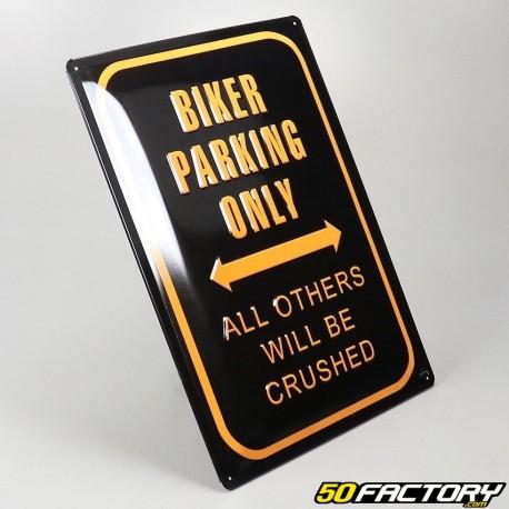 Plaque émaillée Biker parking only 30x40cm