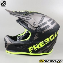 Casco cross Freegun XP4 Outlaw gris y amarillo neón