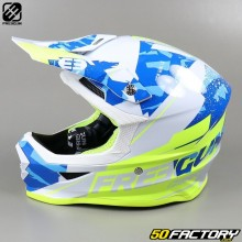 Casco cross Freegun XP4 Hero azul y amarillo neón