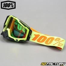 Masque 100% Racecraft Attack jaune fluo écran miroir rouge