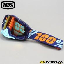 Masque 100% Racecraft Calculus Navy bleu écran miroir rouge