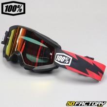 Gafas 100% Strata Slash negras pantalla de espejo roja