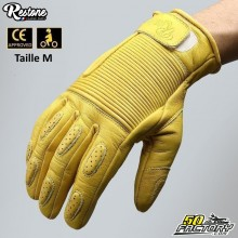 Restone gloves homologated CE motorcycle yellow size M