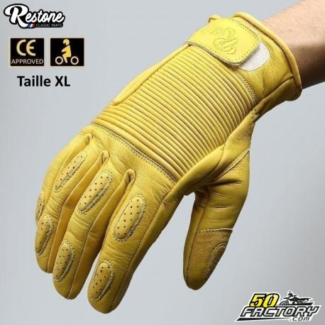 Guantes Restone homologados CE moto amarillo talla XL.