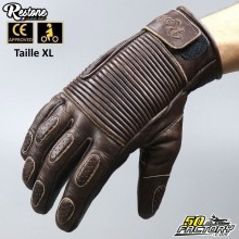 Restone gloves homologated CE motorcycle brown size XL