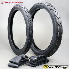 2 1 / 4 16 and 2 3 / 4 16 tires Vee Rubber VRM099 TT with inner tubes moped