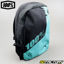 100% Teal backpack black and blue