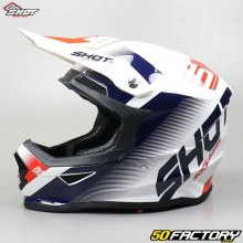 Helmet cross Shot Furious Trust white, blue and red