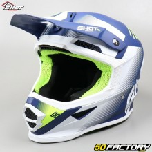 Casco cross Shot Furious Confíe en azul, blanco y amarillo neón talla XL