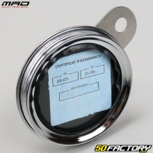 Round chrome insurance sticker holder Mad