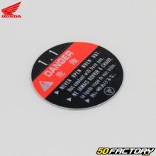 Etiqueta de la tapa del radiador de Honda Shadow 125 (1999 a 2007)