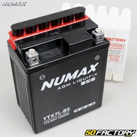 Batterie YTX7L-BS 12V 7Ah acide Hanway Furious, Honda, Piaggio, Vespa... Numax