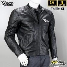 Giacca di pelle nera Restone omologata per moto CE taglia XL