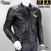 Giacca di pelle nera Restone omologata per moto CE taglia XXL