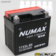 Batterie Numax Premium YTX5L-BS 12V 4Ah acide Derbi DRD Pro, Malaguti, Booster, Trekker, Agility…
