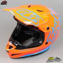 Casco cross Troy Lee Designs GP Silhouette naranja y cian talla L
