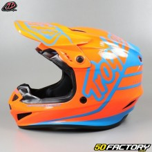 Helmet cross Troy Lee Designs GP Silhouette orange and cyan
