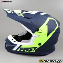 Casque cross First Racing K2 bleu et jaune fluo