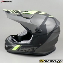 Casque cross First Racing K2 gris anthracite et jaune fluo