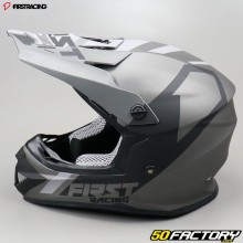 Casque cross First Racing K2 gris anthracite et noir
