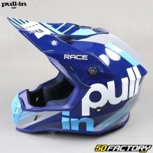 Helmet cross Pull-in Race gray and cyan