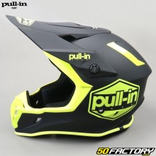 Helmet cross Solid black and yellow fluo pull-in