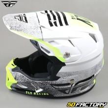 Helmet cross Fly Toxin Embargo Mips blanc, noir et jaune fluo