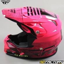 Helmet cross Fly Toxin Embargo Mips rose fluo et noir