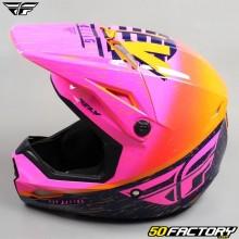 Helmet cross Fly Kinetic K120 pink, orange and blue