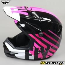 Helmet cross Fly Kinetic Thrive rose, noir et blanc