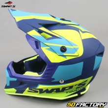 Casco cross Swap's Blur S818 blu e giallo neon