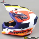 Casco cross Swap's Blur S818 blanco, azul y naranja