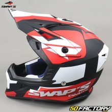 Casco cross Swap's Blur S818 negro, blanco y rojo