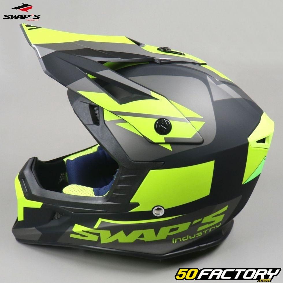Vert Mat Casque motocross SWAP/'S BLUR S818 Noir Jaune Fluo