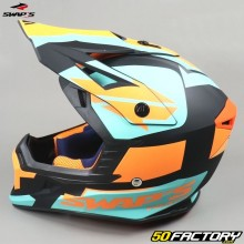 Casco cross Swap's Blur S818 nero, arancione e blu