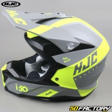 Casque cross HJC I50 Erased MC4HSF gris et jaune fluo