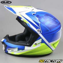 Casco cross bambino HJC CL-XY II Ellusion MC2SF blu e giallo neon