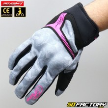 Women's gloves Five RS3 replica gray and neon pink