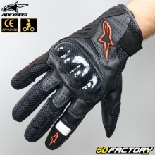 Gloves racing Alpinestars SMX-1 Air V2 black and fluo red